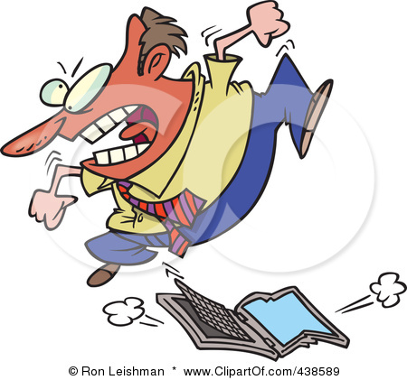 438589-Royalty-Free-RF-Clip-Art-Illustration-Of-A-Frustrated-Cartoon-Businessman-Trampling-A-Laptop-Computer