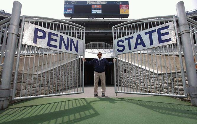 Joe Paterno at the gates of Beaver Stadium.
