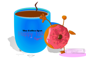 coffee talk, happy spot, coffee and donut
