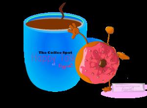 coffee talk, happy spot, coffee and donut